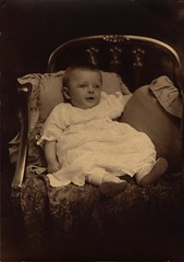 Baby Portrait With Pillows in Chair (Familypapers) Tags: portrait blackandwhitephoto children babypictures robertsdale alabama usa 1890s baby infant babyinadress breeching chair pillows