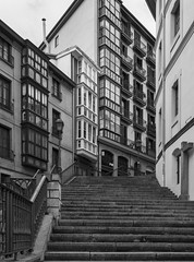 Stairs of Mallona (Bilbao) (fnks) Tags: stairs building town capital black white city nature concrete wood caret metal historyncountry europe asia island hotel bookshop clouds sky spain holland germany england indonesia japan portugal çzech republic turkey hong kongitaly usa belgium azores
