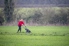 DSC_5062 (photographer695) Tags: scawby north lincolnshire lady red sweater cutting grass public right way used by dog walkers