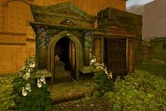 Restful Bower (Inner Space Explorer) Tags: sl secondlife nocturne nola cemetery tomb graveyard mausoleum buildings