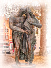 """3 nights in Brugge #35 - New series (""""Alive and Clicking!""""- 2 Mill. Thanks) Tags: bronze sculpture man woman on statue word love is written many languages brugge bruges hdr"""