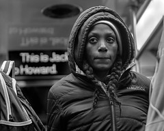 This is Jackson (kristenscotti) Tags: olympus chicago chicagoland usa blackandwhite bw black white streetphotography street spring winter bokeh capturestreets visuals microfourthirds 50mm portrait outside art city people monochrome penf mono exterior day interior absoluteblackandwhite subway l train bus transport woman transportation coat nautica hood braids backpack reflection shadow scar candid
