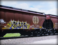 (timetomakethepasta) Tags: big miles sdk freight train graffiti art bnsf grainer hopper
