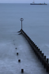 All at Sea (PeskyMesky) Tags: aberdeen aberdeenbeach longexposure water sea ocean scotland groyne ship landscape canon canon5d eos