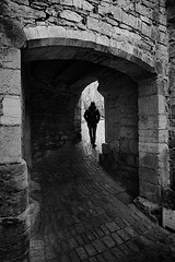 (cherco) Tags: lonely alone grayscale blancoynegro city monastery france medieval silhouette light shadows