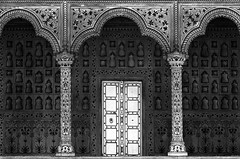 White Door (HWHawerkamp) Tags: architecture bw arch arches door pillar pillars mosaic palace temple old historic history flowers flower agra india