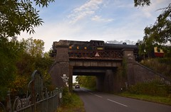 LNER B1 Locomotive No.1264, running as No.1251 'Oliver Bury' runs over Main Road Bridge at Swithland, on a returning service to Loughborough from Leicester North. Autumn Steam Gala Great Central Railway. 06 10 2018 (pnb511) Tags: greatcentralrailway trains railway locomotive loco steam engine smoke power road bridge trees sky clouds lner b1 no1264 no1251