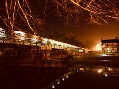 Night Swimming (sjpowermac) Tags: nightswimming nova3 class68 68028 lordpresident scarboroughbridge ouse river reflections lights street transpennineexpress branches quiet morning night hotel riverside mist lightpollution still calm