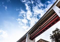 Lisbon, December 27, 2018 (Ulf Bodin) Tags: airplane cloud bridge ponte25deabril lisbon lisboa canonef1635mmf4lisusm urbanlife bro sky outdoor lissabon canoneosr 25deabrilbridge portugal pt