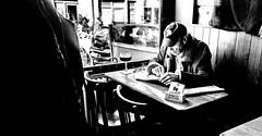 Tranquillité (BenoitGEETS-Photography) Tags: a6000 sony brussels bruxelles café bistro bar motscroisés crossword bn bw blackwhite noiretblanc nb vieux vieillard quietness quiet tranquilité calme plaisir pleasure tranquility peacefulness stillness