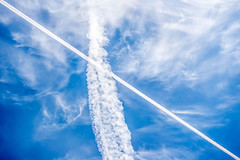 Contrails - Corner to Corner (KVSE) Tags: sky clouds contrail contrails up diagonal