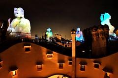 La Pedrera (Douguerreotype) Tags: lights city dark barcelona night buildings urban gaudi spain catalunya roof architecture