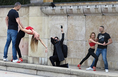 Dancers posing for glamor photos (pivapao's citylife flavors) Tags: paris france trocadero girl beauties photographer streetartist stitched
