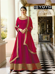 Plain #PinkAnarkaliSuit with Heavy Border Online On #YOYOFashion. (yoyo_fashion) Tags: style fashion pinkdress dresses anarkalisuit heavyborderdress suits shopping offers anarakali