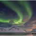 Aurora borealis - het Noorderlicht in Flakstad op de Lofoten in Noorwegen ...