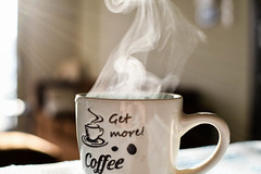 Get more coffee! (jimiliop) Tags: cup rays sunshine livingroom warm steam home light coffee hot