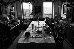 the good old living room (j.p.yef) Tags: peterfey jpyef yef livingroom monochrome bw sw table chairs windows desk lamps candles picturesonthewall flowers