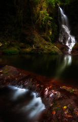 Falls in the dark forest (Elephas_a) Tags: australia canungra canungracreek elabanafalls lamington oreillys queensland boulders bush cascades creek falls foliage forest green landsccape longexposure moss nature peaceful quiet rainforest rocks seren serenuty silent stream tranquil trees vegetation water waterfall