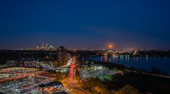 Minneapolis, Full Moon (Chad Davis.) Tags: calhountowers cityscape fullmoon lake lakecalhoun longexposure minneapolis minnesota nightshot uptownminneapolis