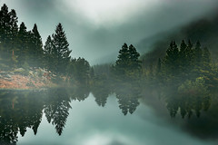 Dark Whispers (miss.interpretations) Tags: dark mountains lake fog mist landscape horizon evening reflection trees treeline clouds colorado melancholy moody coloradophotographer solace solitude quiet meditation alone pine fir canon6dmarkii