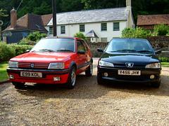 Peugeot 205 GTi & 306 GTi-6 (Marc Sayce's Old Digital Photos) Tags: 1999 peugeot 306 gti6 gti black 1998 2000 205 1988 1987 1989 19 1900 cherry red