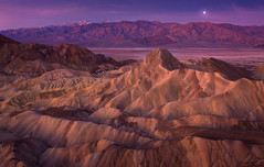 Zabriskie Dawn (Ryan_Buchanan) Tags: death valley california zabriskie point sunrise moon purple texture landscape ryan buchananexposurescape morning