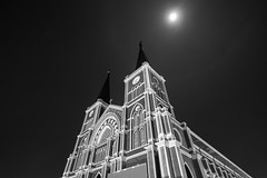 The Cathedral of Immaculate Conception (Chanthaburi Cathedral) under the Moon and dark sky. (Black and White) (baddoguy) Tags: above ancient civilization architecture black and white building exterior built structure cathedral catholicism christianity church clock tower dark diminishing perspective famous place god gothic style heaven horizontal illuminated line art local landmark low angle view moon moonlight national night no people outdoors photography worship point religion religious cross sky spiked spirituality thai culture thailand time of day tourism travel destinations