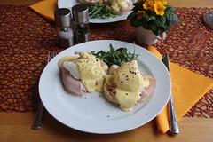 Eggs Benedict (mein Teller) (multipel_bleiben) Tags: essen englisch frühstück schweinefleisch schinken sose eier salat gebäck brötchen muffin herzhaft