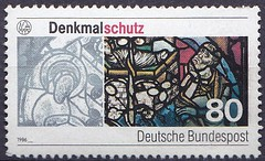 Deutsche Briefmarken (micky the pixel) Tags: briefmarke stamp ephemera deutschland bundespost denkmalschutz fenster window glasmalerei kirche church dom regensburg