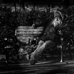 """He Rarely Felt Lonely For He Found Good Company In Solitude"", Near George Washington University Metro Station, Foggy Bottom, Washington, DC (Gerald L. Campbell) Tags: red streetphotography street squareformat spirituality spiritualindifference socialdocumentary alienation aloneness bw blackwhite citylife community canonsx60hs dc dcist digital documentary dignity washingtoncircle freedom homelessness homeless indifference injustice inequality unitedstates washingtondc yearning yeswecan z"