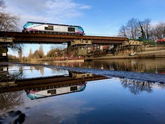 Upside Down (Explore #1) (sjpowermac) Tags: upsidedown reflection scarboroughbridge ouse 68031 tpe driver training 1845 1877 2019 replacement 0b60 trees river water mud leaf blue transpennine express puddle 1