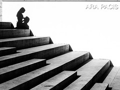 Shadows on the stairs (mr.reverend) Tags: shadows stairs love couple minimal geometry arapacis street streetphoto streetphotography streetlife candid urban urbanlife city citylife rome italy blackandwhite monochrome