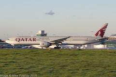 A7-BEM - 2017 build Boeing B777-300ER, rolling for departure on Runway 23R at Manchester (egcc) Tags: 1525 64088 a7bem b773 b777 b777300 b777300er boeing egcc lightroom man manchester qr qtr qatarairways ringway triple triple7