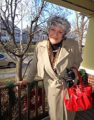 Now I Am Ready (Laurette Victoria) Tags: coat scarf purse gloves silver laurette woman porch