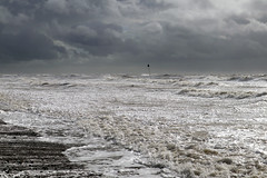 Stormy seas (Cumberland Patriot) Tags: seascale west cumbria irish sea shore beach waves marine foam clouds stormy sky