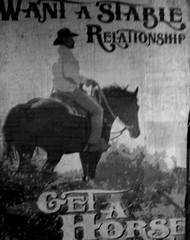 Relationships .... (Mr. Happy Face - Peace :)) Tags: horse poster unknown bw shadow black white art2019