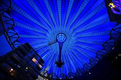 Blue Blue Blue (Anthony Mark Images) Tags: sonycenter potzdamerplatz berlin germany deutschland nightshot roof canopy colours blue nikon d850 flickrclickx