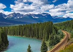 Train Tracks and River Bend (davetherrienphoto) Tags: track lakelouise pine river forest alberta rockymountains canada bend train aquamarine tree