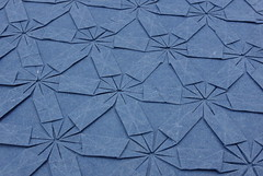 Lucky Star Tessellation (back) (Michał Kosmulski) Tags: origami tessellation stars sky paper paperreview paperart michałkosmulski handmadepaper blue