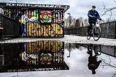 STOP G20 (blende9komma6) Tags: hannover limmer germany stop g20 hamburg hh nikon z6 streetart streetphotography reflexion reflection bicycle fahrrad puddle pfütze graffiti art street