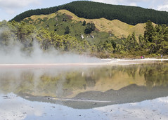 Champagne Reflection (fantommst) Tags: nz newzealand rotorua geothermal thermal champagne pool waiotapu sacred waters lisaridings fantommst minerals springs sinter landscape waterscape hot steam bayofplenty