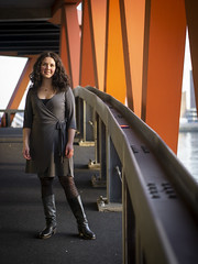 Laura, Rotterdam 2019: Further up the ramp (mdiepraam) Tags: laura rotterdam 2019 portrait pretty attractive beautiful elegant classy gorgeous dutch brunette girl woman lady naturalglamour curls coat scarf boots stockings tights nylons