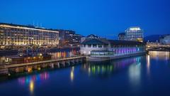 Le bateau (karinavera) Tags: switzerland batis25 city longexposure night photography cityscape urban ilcea7m2 sunset geneve ginebra swiss blue