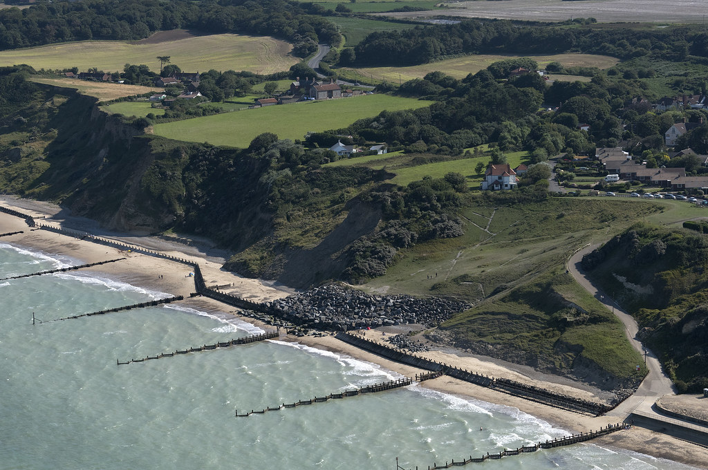 Overstrand cliffs in north Norfolk - aerial image