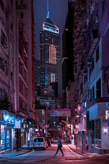 Wan Chai Night (mikemikecat) Tags: one person only men neon colored cyberpunk wan chai nights mikemikecat central plaza 中環廣場
