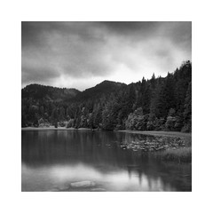 Spitzingsee, Germany just before rain started (Christian Seifert) Tags: spitzingsee lake bavaria bayern germany deutschland pentax 645n film fuji medium format long exposure 45mm wide angle analog grain clouds mountains alps alpen