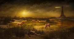 The valley ((Landscapes) back) Tags: landscapes photoshop digital art color horses animals nature photography
