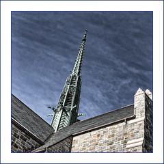 Gothic (Timothy Valentine) Tags: church gargoyle large 0219 fbpost sky 2019 spire hrsw attleboro massachusetts unitedstatesofamerica us