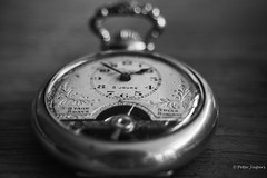 Ticking away the moments that make up a dull day (Peter Jaspers) Tags: frompeterj© 2019 olympus zuiko omd em10 1240mm28 bw bn blackwhite macro macromondays timepieces clock zwartwit lowkey bokeh 1930 ancre pendant pocketwatch watch home dial watchspring time pinkfloyd