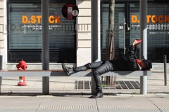 Relax (just.Luc) Tags: man male homme hombre uomo mann liggend reclined bench bank banc tramhalte tramstop grandest marne reims champagneardennes france frankrijk frankreich francia frança hat hoed chapeau